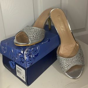 Open Toed Bedazzled Silver Heels